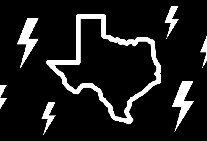 Graphic with a black background showing an outline of the state of Texas in white. Surrounding it are lightning bolts in white in various sizes.