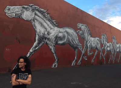 """A white woman with olive skin and long, dark brown, curly hair stands outside by a red wall that vanishes behind her in the distance. A line of enormous running horses are painted in a mural on the wall in black and white, their manes blowing in the wind. Cheryl stands with her arms folded in front of her, forearms chiseled from too many years typing, staring off in the direction the horses are headed. She has a solemn crow tattooed on one arm and wears a black t-shirt with white text, """"No More Spoons"""" and a row of knives and daggers."""