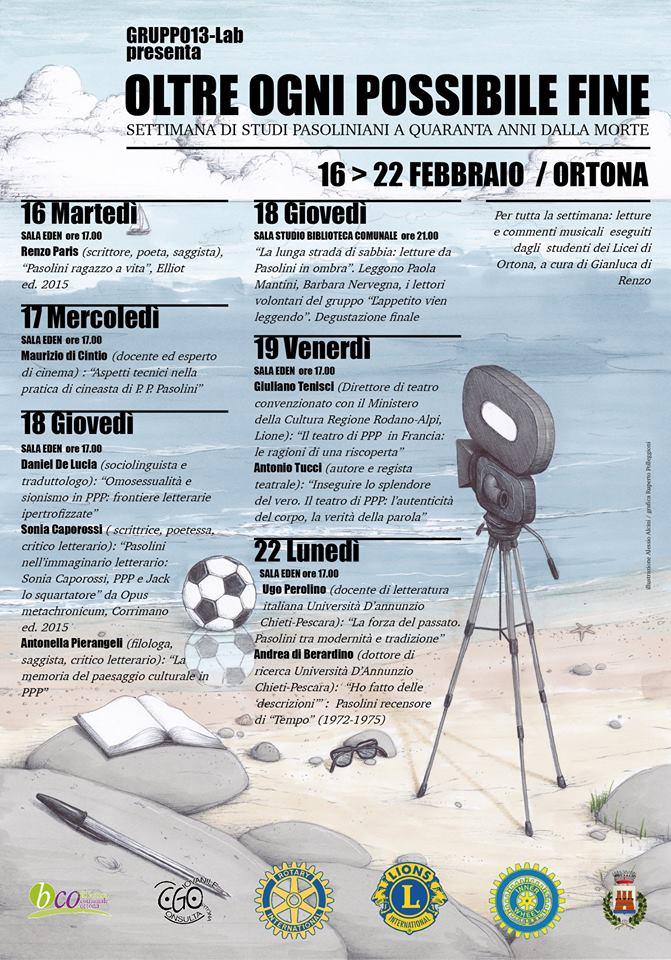 """Ortona, 16-22 febbraio: """"Oltre ogni possibile fine"""", settimana di studi su Pier Paolo Pasolini"""