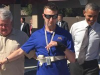 Army Ranger receives the keys from Jared Allen's Homes For Wounded Warriors and Peak One Builders then a visit from President Obama