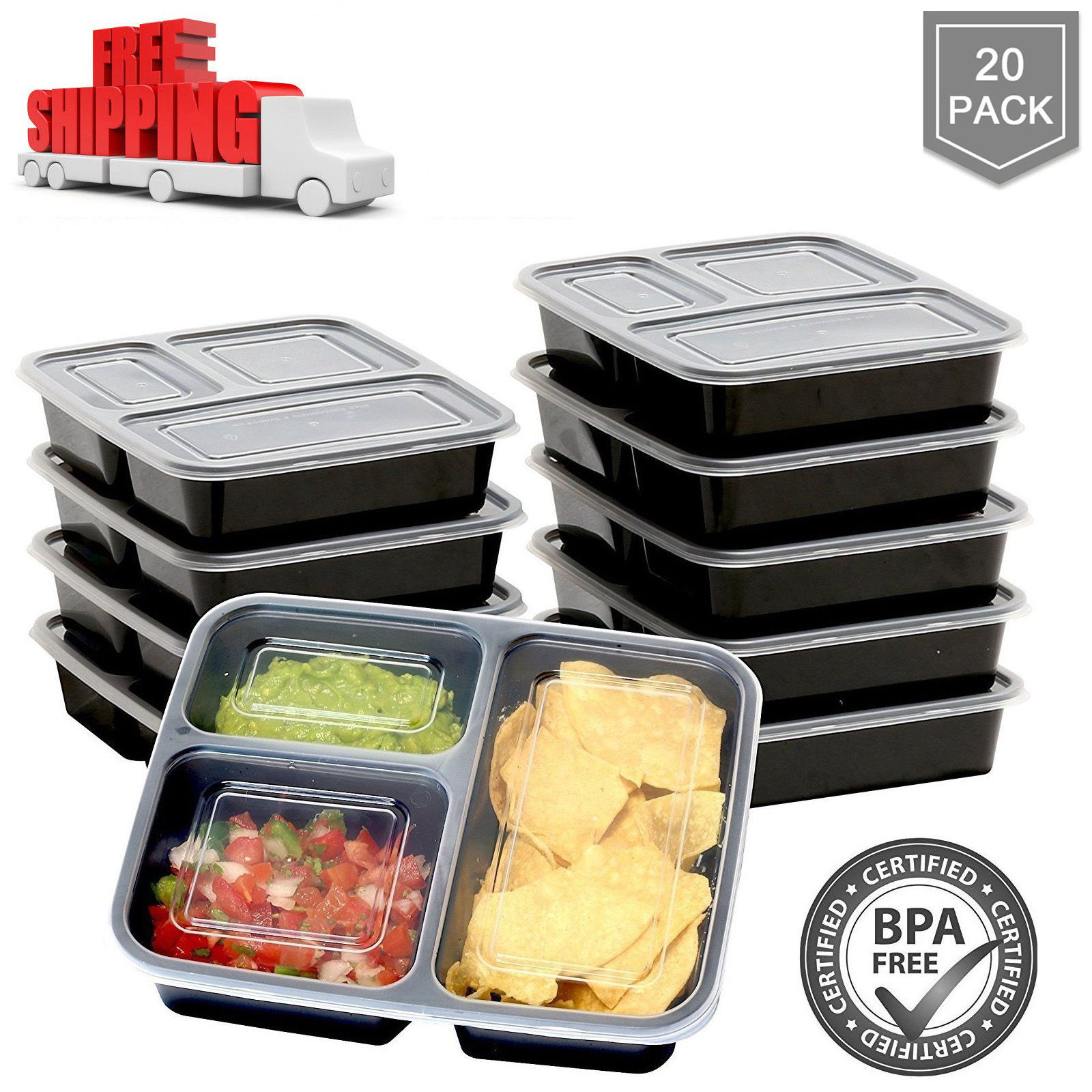 20 Meal Prep Containers Food Storage 3 Compartment Plastic Reusable Microwavable 1