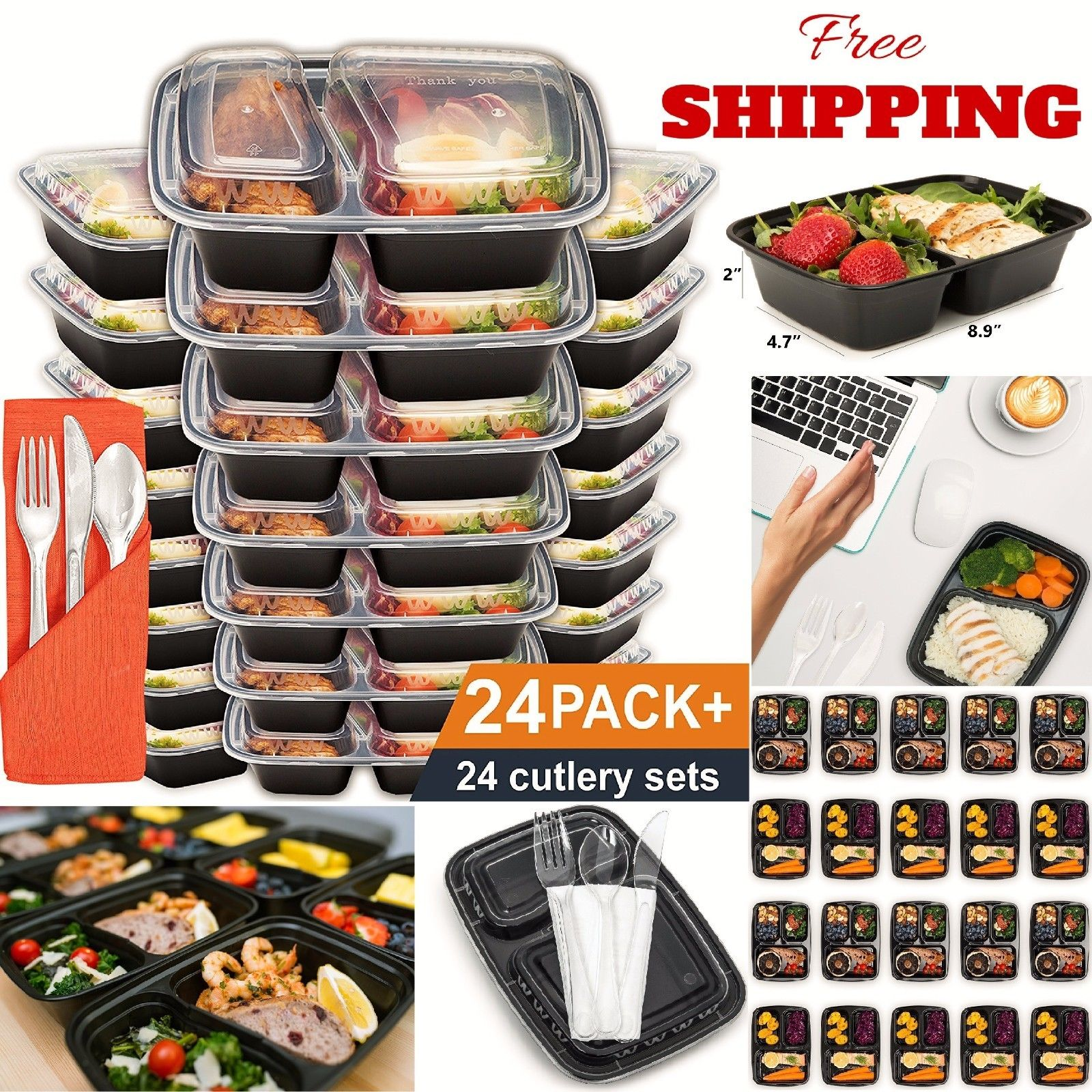 24 Meal Prep Containers Plastic Food Storage Microwavable Reusable 2 Compartment 1