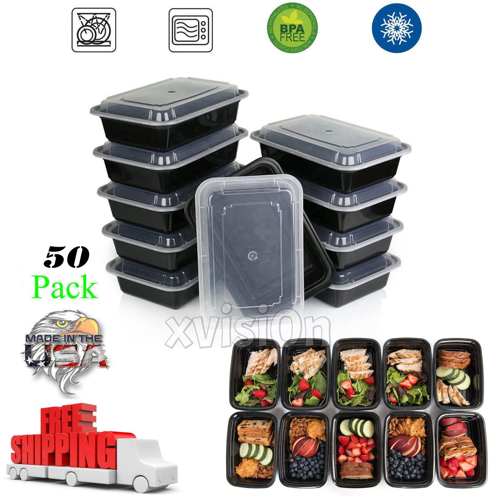 50 Meal Prep Containers 1 Compartment Plastic Food Storage Reusable Microwavable 1