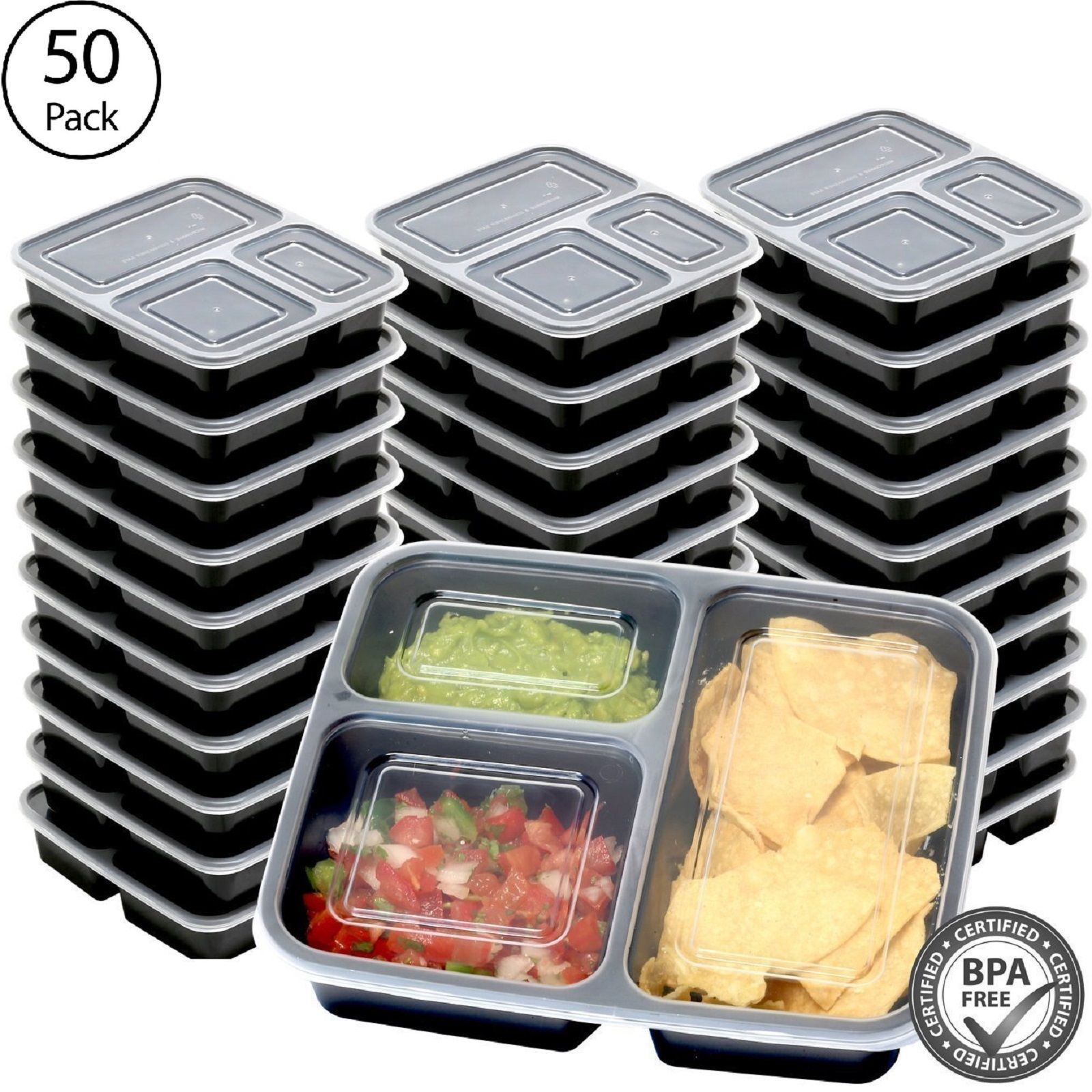 50 Meal Prep Containers Food Storage 3 Compartment Plastic Reusable Microwavable 1