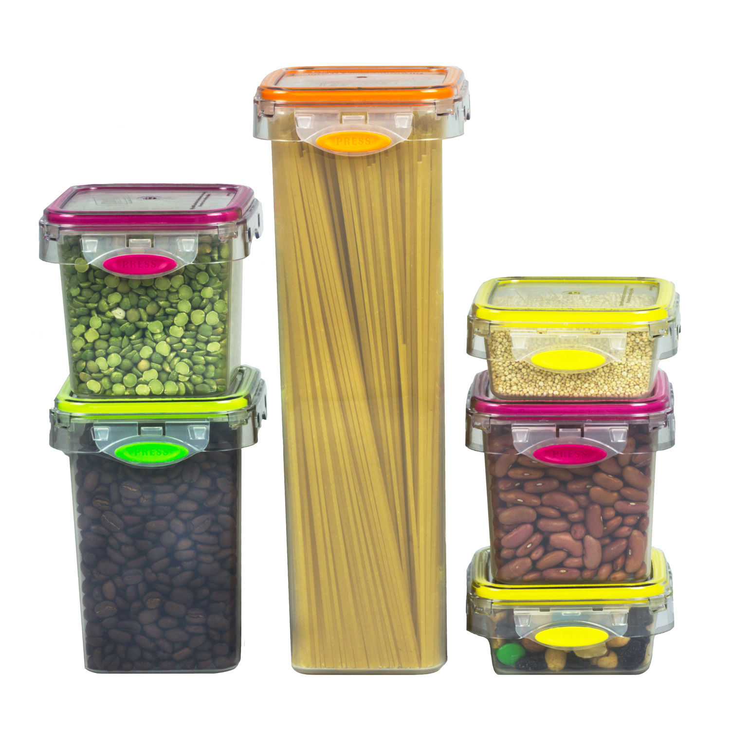 Food Storage 12 Piece Air Tight Set Colorful Plastic Container - Pantry, Snacks 1