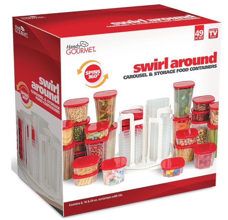 Food Storage Container Carousel Spin Store Swirl Around Organizer 49 Piece Set 1
