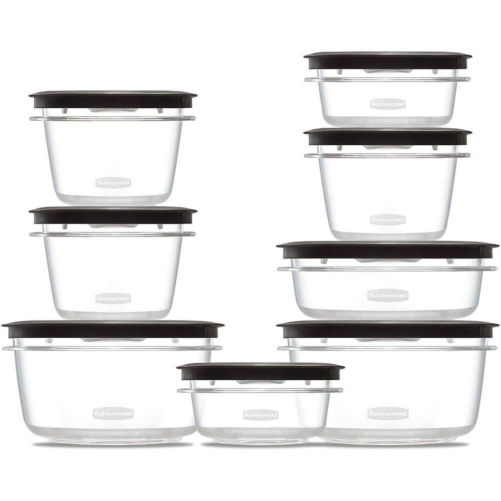 Food Storage Plastic Containers Set Clear Shatterproof Food Storage Black 16-Pcs 1