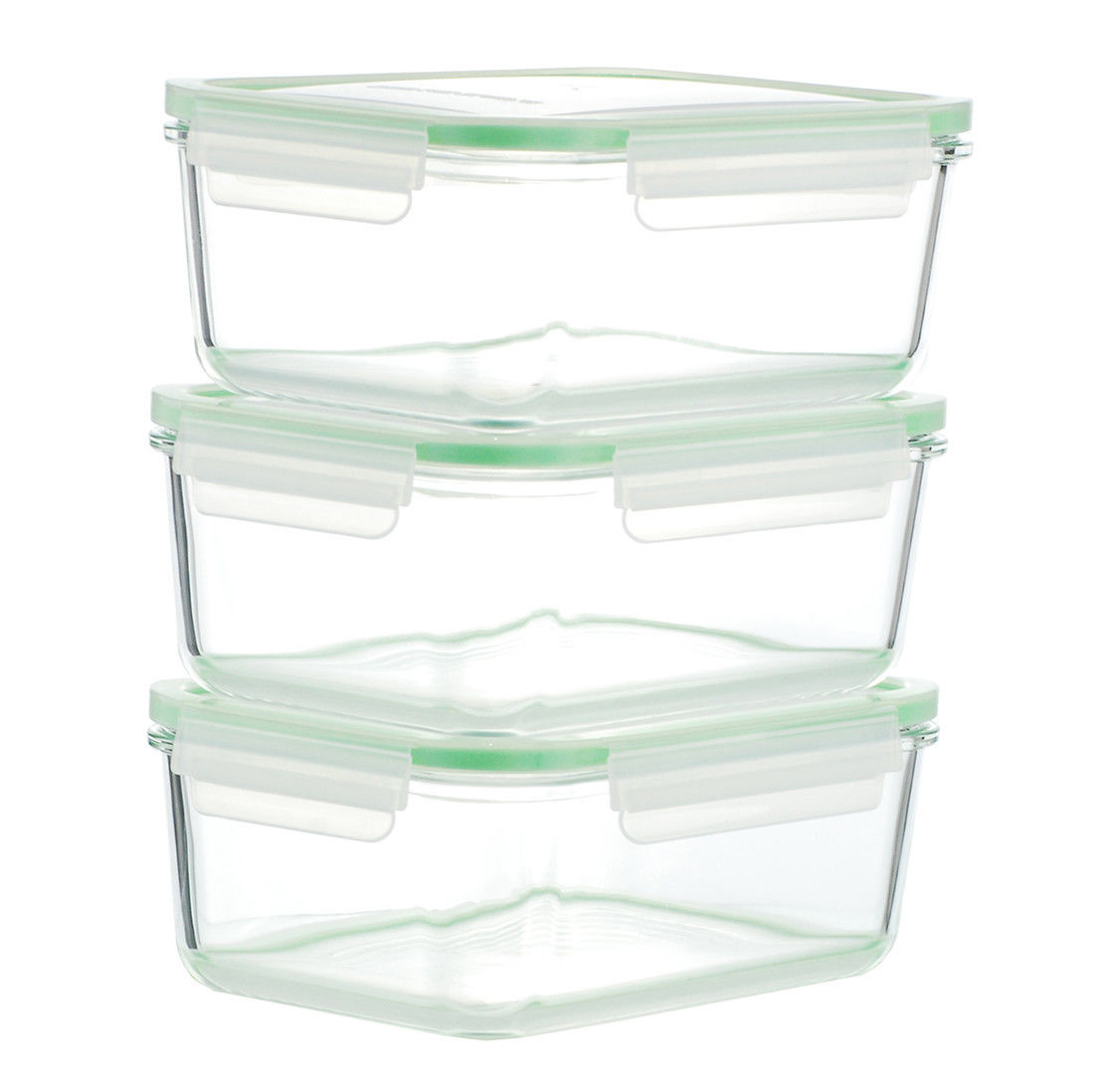 Kinetic Go Green Glassworks 3-Piece Food Storage Container Set Set of 3 1