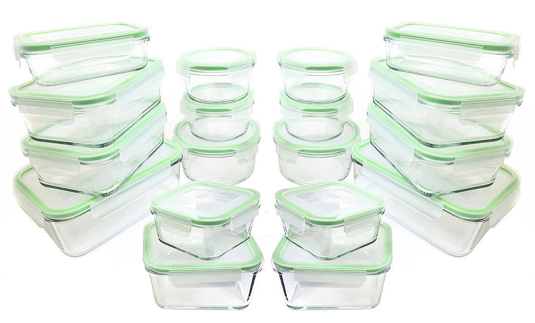 Kinetic GoGreen Glassworks 36-Piece Oven Safe Glass Food Storage Container Set 1
