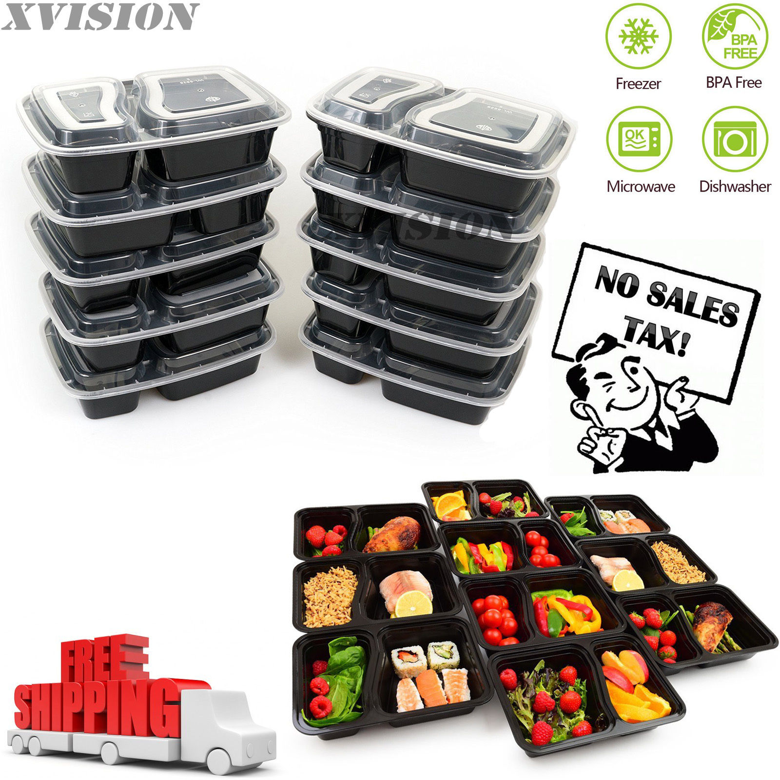 10 Meal Prep Containers 2 Compartment Food Storage Plastic Reusable Microwavable 1