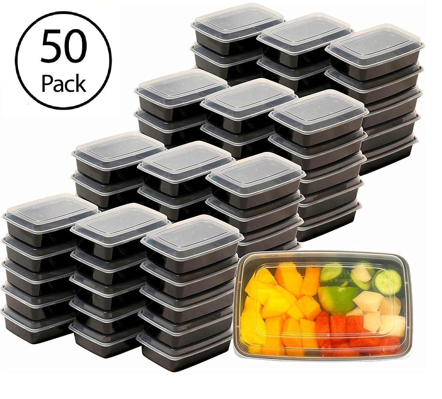50 Meal Prep Containers Plastic Food Storage Reusable Microwavable 1 Compartment 1