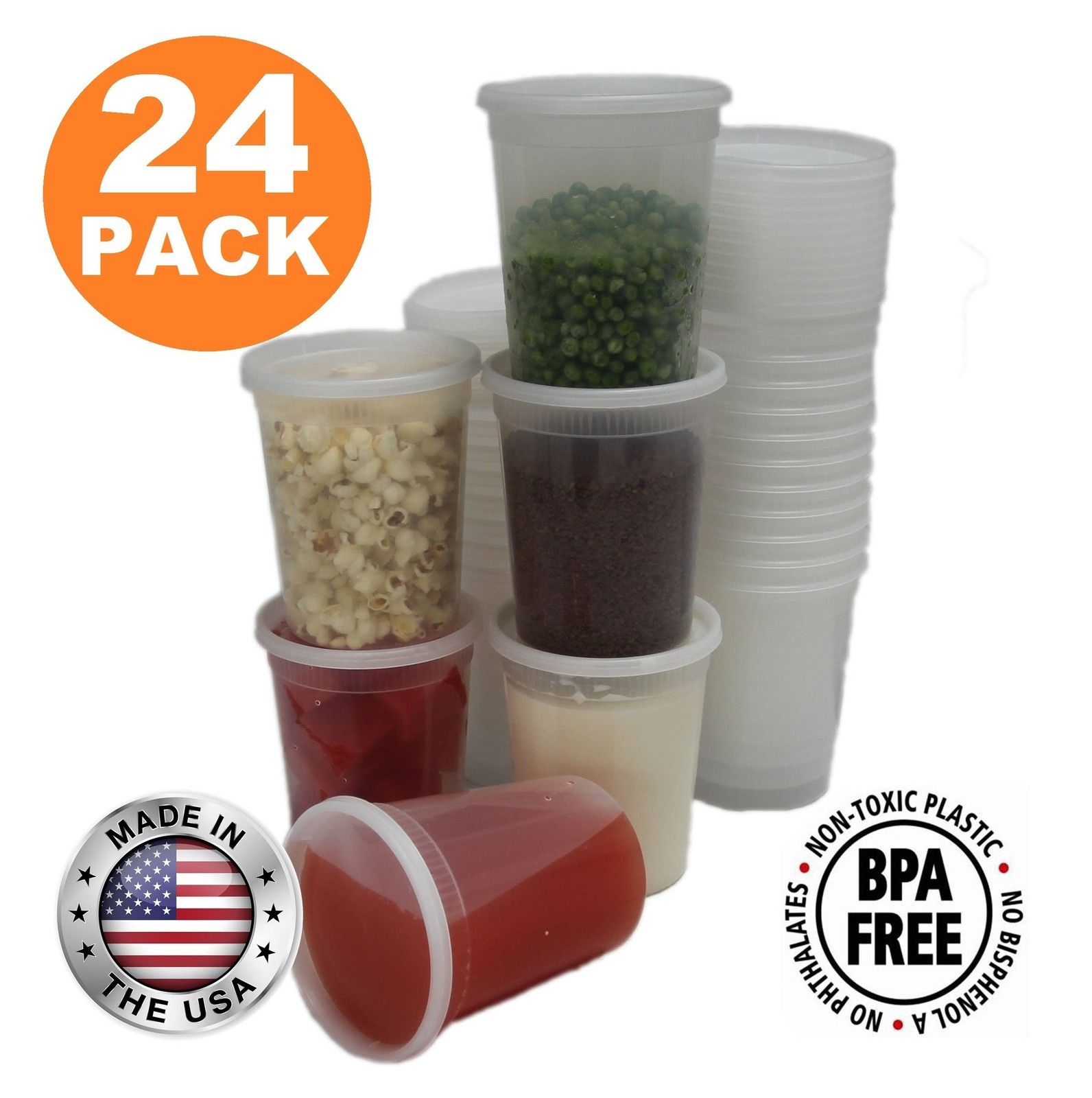 Food Storage Containers with Lids Round Plastic Deli Cups US Made 32 oz Quart... 1