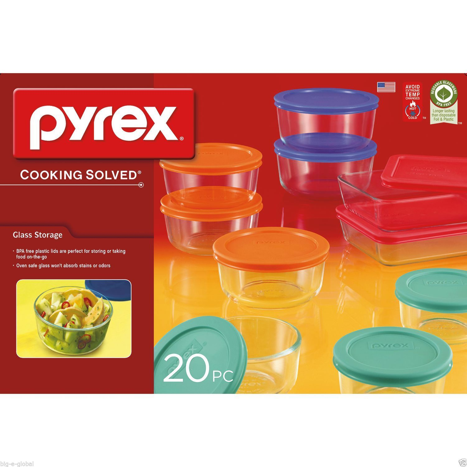 Pyrex 20-Piece Kitchen Glass Food Storage Set Containers Bakeware Bowls with Lid 1