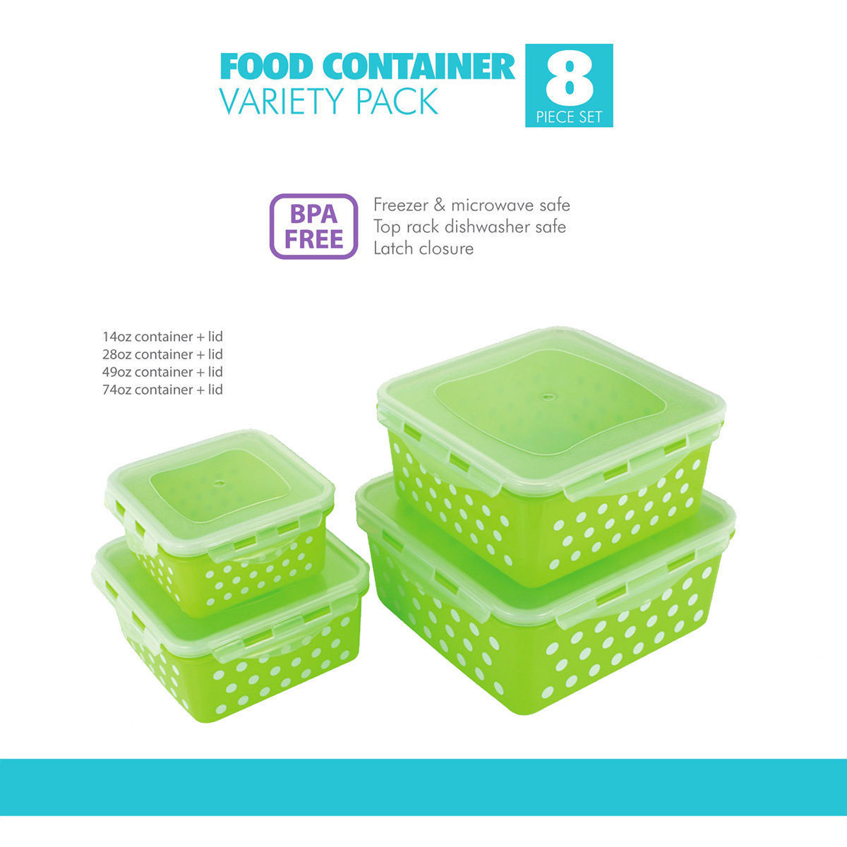 Square Airtight Food Storage Lock Container 8 PC Lime Green Polka Dots BPA Free 1