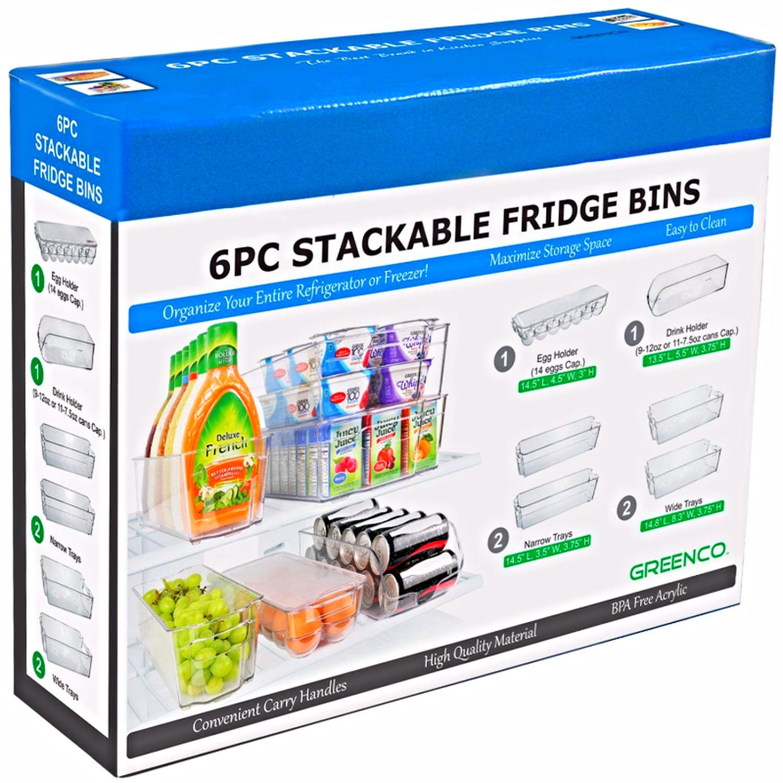 6 Piece Fridge Organizer Set Food Storage Containers Bins Bowls Freezer Buckets 1