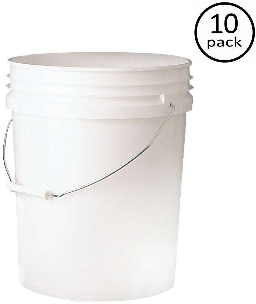 Food Storage Container 5 Gal Gallon Bucket Plastic Leaktite 10 Pack 1