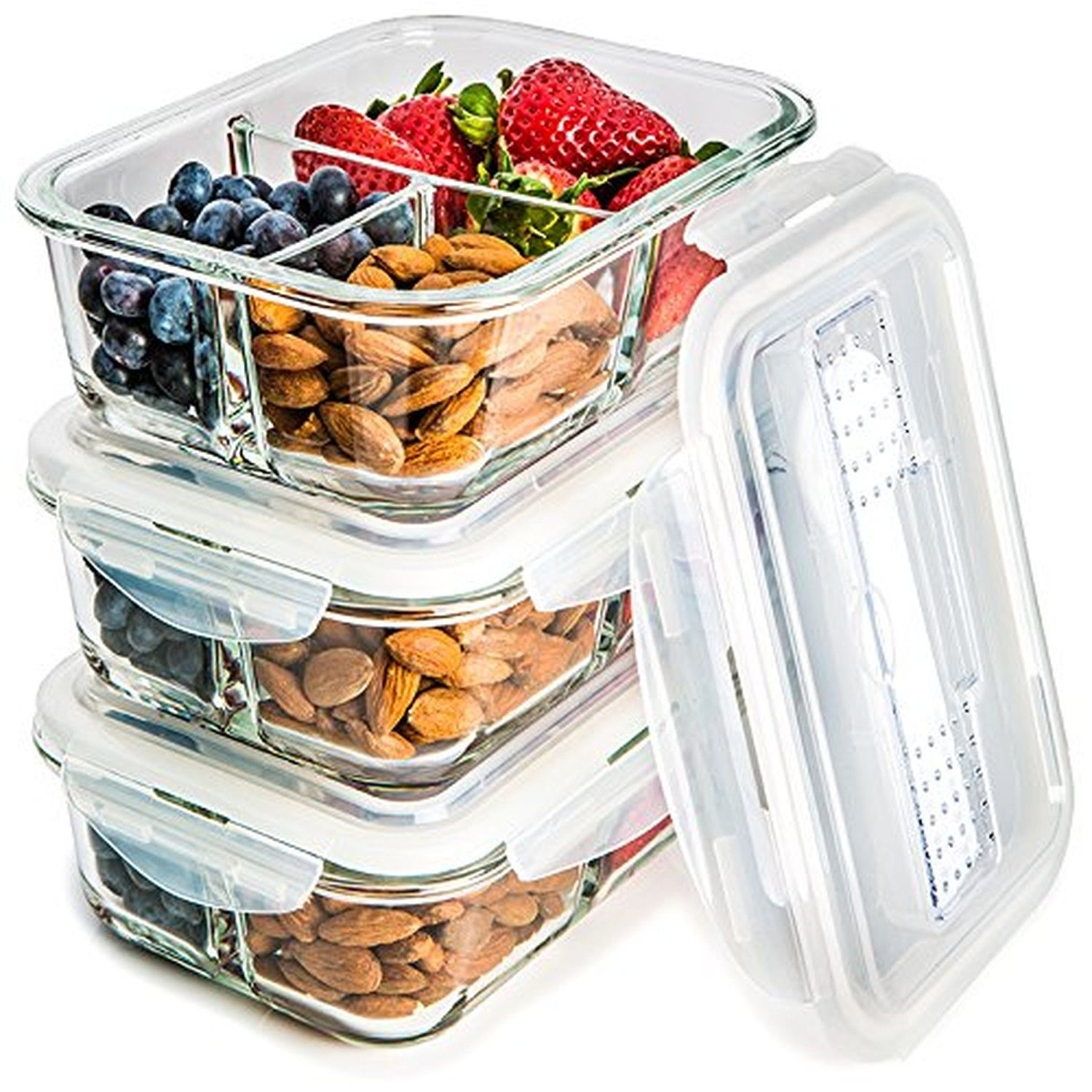 Glass Meal Prep Food Storage Containers  3 Compartment Container Set with Sma... 1