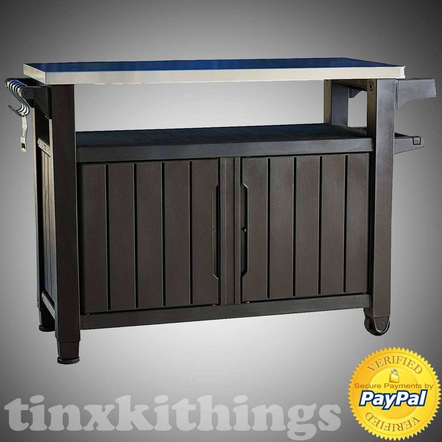 Mobile BBQ Food Serving Table Shelves Storage Cabinet Metal Top In Out Door Cart 1