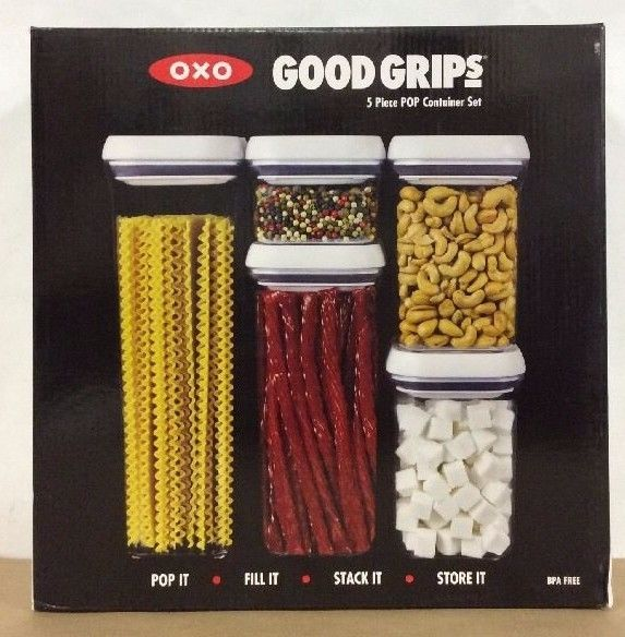 OXO Good Grips 5 Piece Food Storage POP Container Set BPA Free NEW IN BOX 1