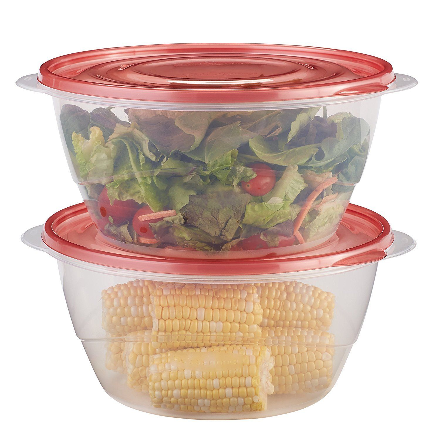 Rubbermaid TakeAlongs Food Storage Container, Serving Bowls, 13 Cup, 2 Pack, Red 1