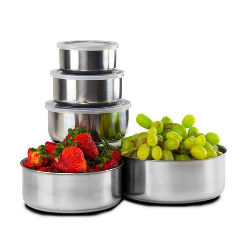 10 Piece : Home Collections BPA Free Stainless Steel Clear Storage Bowl Set 1