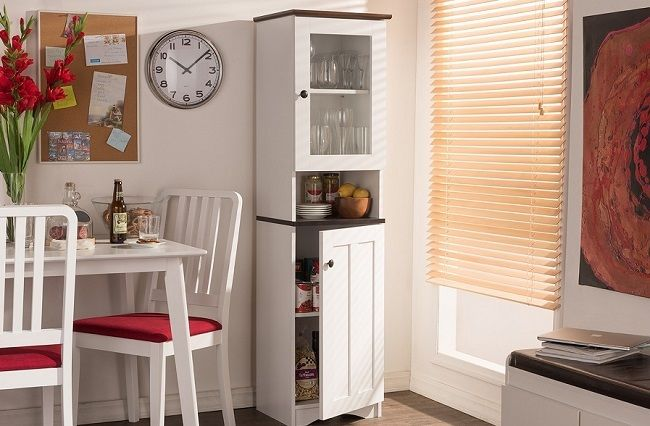 Kitchen Pantry Tall Food Storage Cupboard Cabinet Shelves White Organizer Baking 1