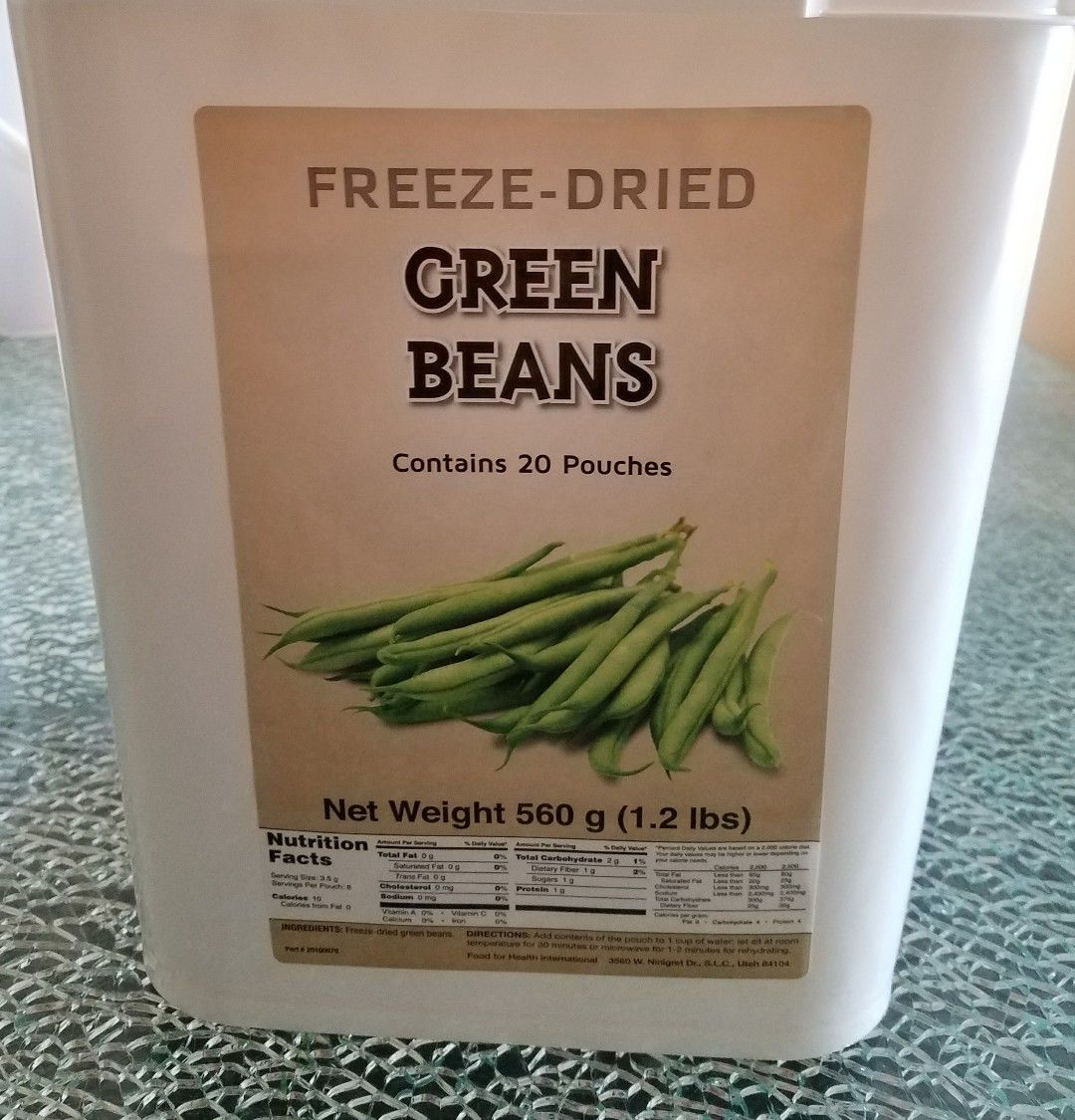 Emergency Survival  Freeze Dried Food Storage Green Beans Bucket 120 Serving 1