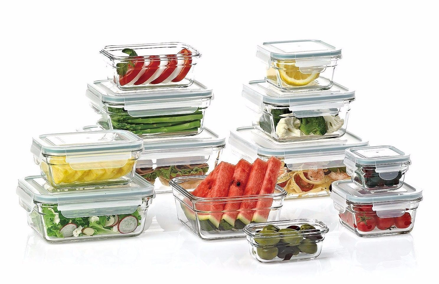 Glass Food Prep Storage Containers Set (24-Piece) Glass Lock Leakproof Lunch Box 1