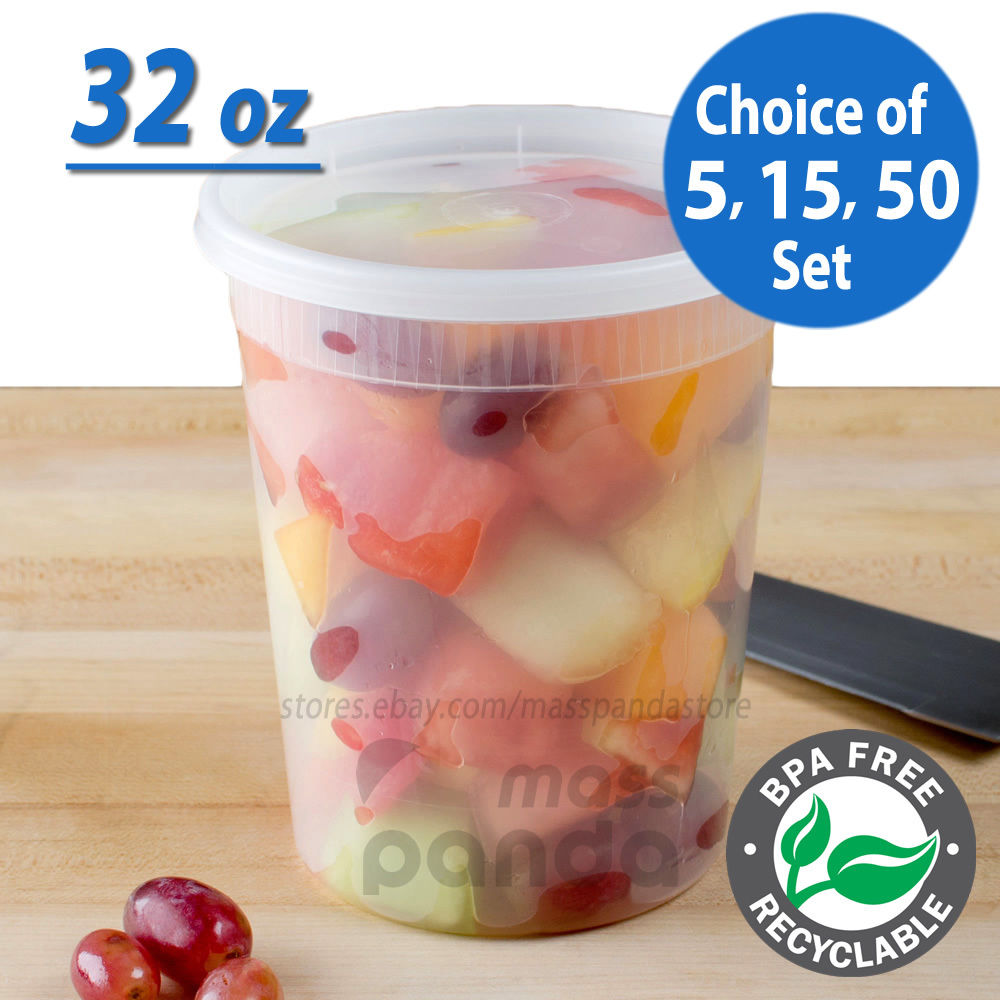 32oz Heavy Duty Large Round Deli Food/Soup Plastic Containers w/ Lids BPA free 1