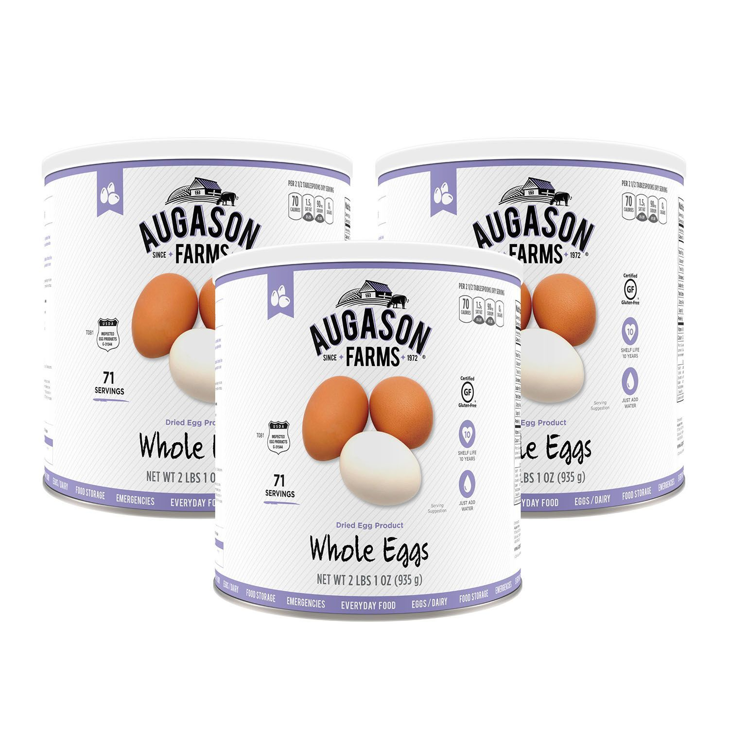 Augason Farms Dried Whole Eggs Emergency Storage Food - 3 Pack of Size #10 Can 1