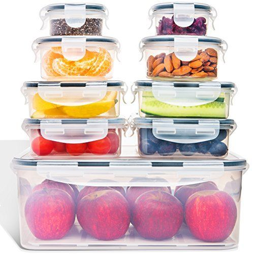 Food Storage Containers with Lids - Airtight Leak Proof Easy Snap Lock and BPA F 1
