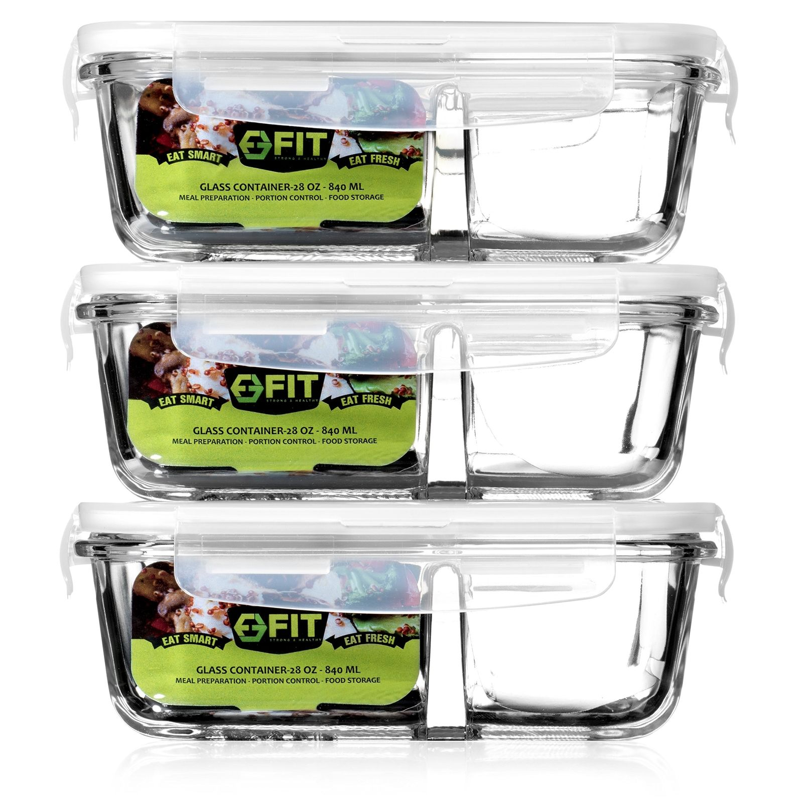 Glass Meal Prep Food Storage Containers with Lids (3 Pack) - 2 Compartment Co... 1