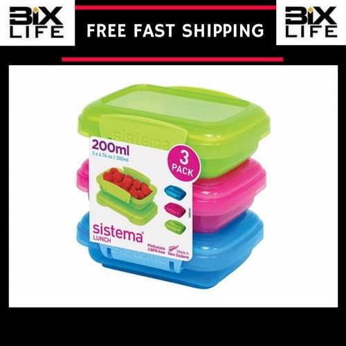 Sistema Lunch Collection Food Storage Containers, Assorted Colors, 6.7 oz Set 3 1