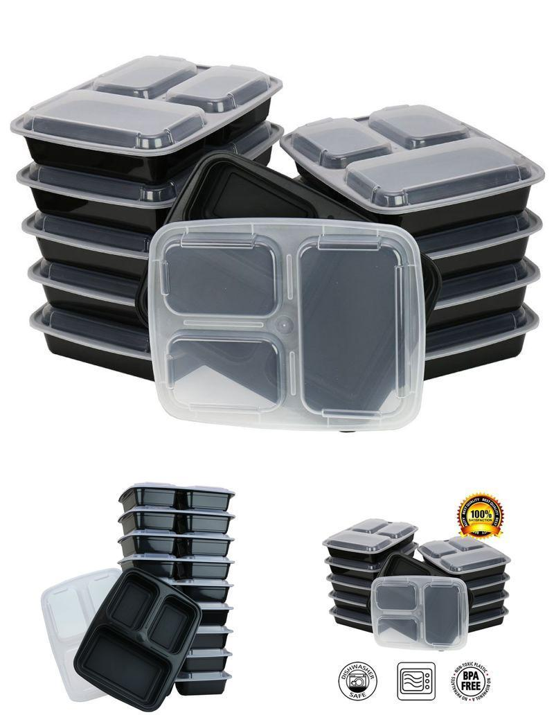 10 Pack Meal Prep 3 Compartment Food Storage Containers Bento Lunch Boxes 1