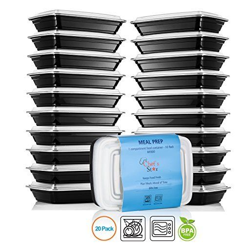 Chef's Star 1 Compartment Reusable Food Storage Containers With Lids - 20 Pack 1
