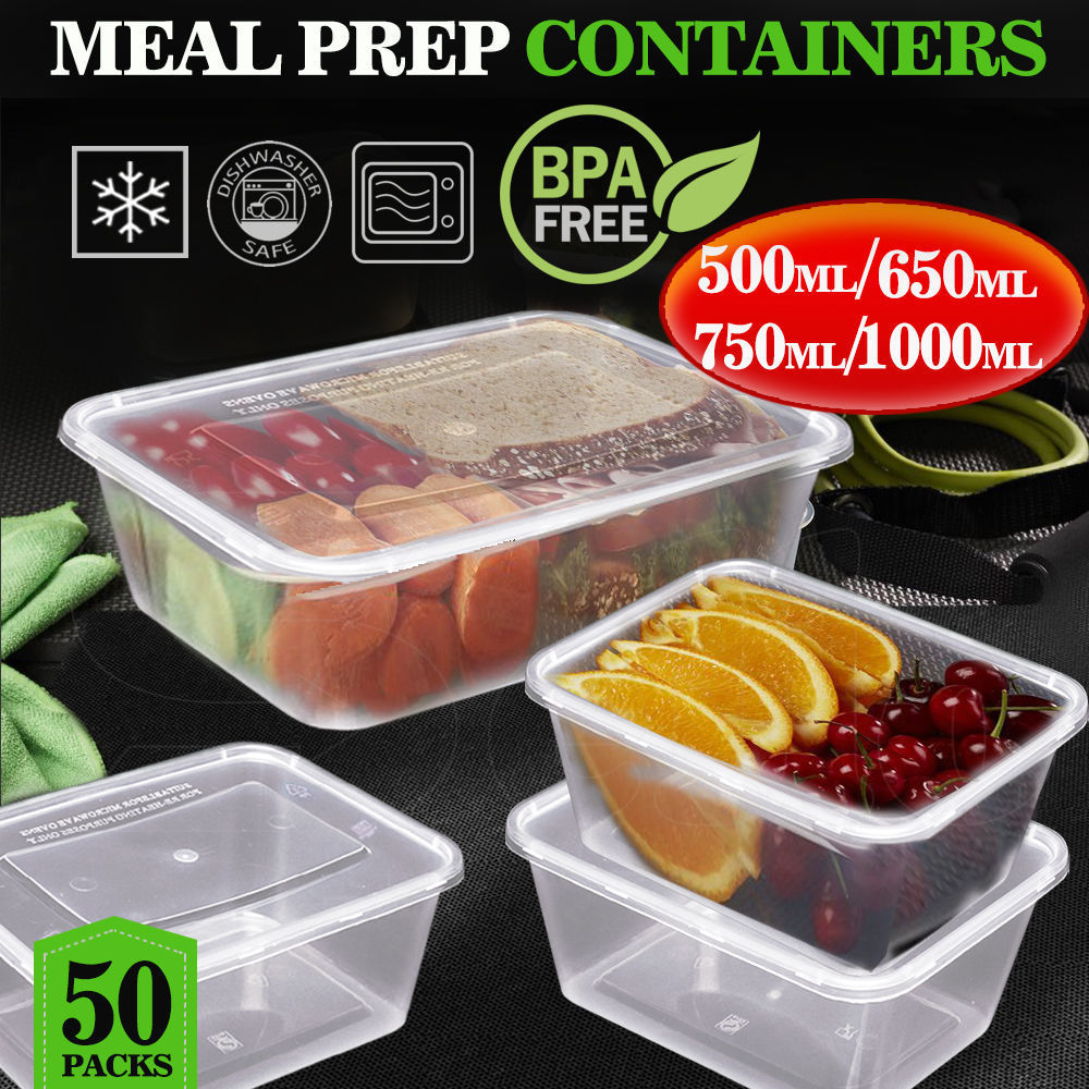 Meal Prep Food Containers with Lids Reusable Microwavable Plastic BPA free Bulk 1