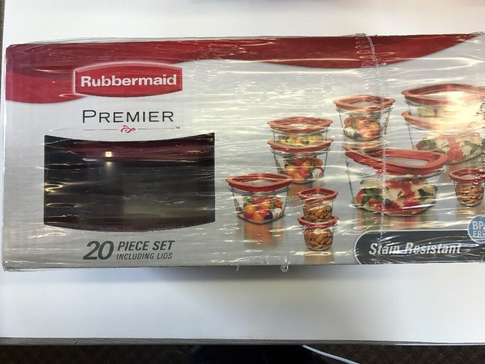 Rubbermaid 1857418 20-Piece Premier Food Storage Container Set Red Free Shipping 1