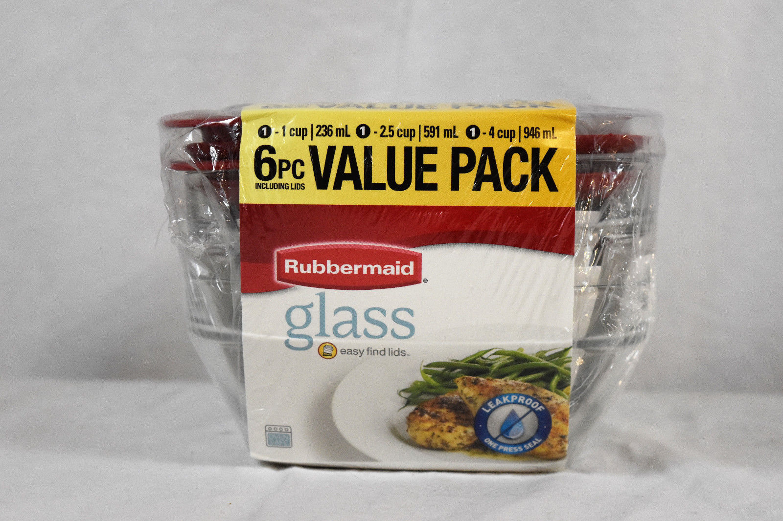 Rubbermaid 6-Piece Glass Food Storage Container Value Pack (3 Cups, 3 Lids) 1