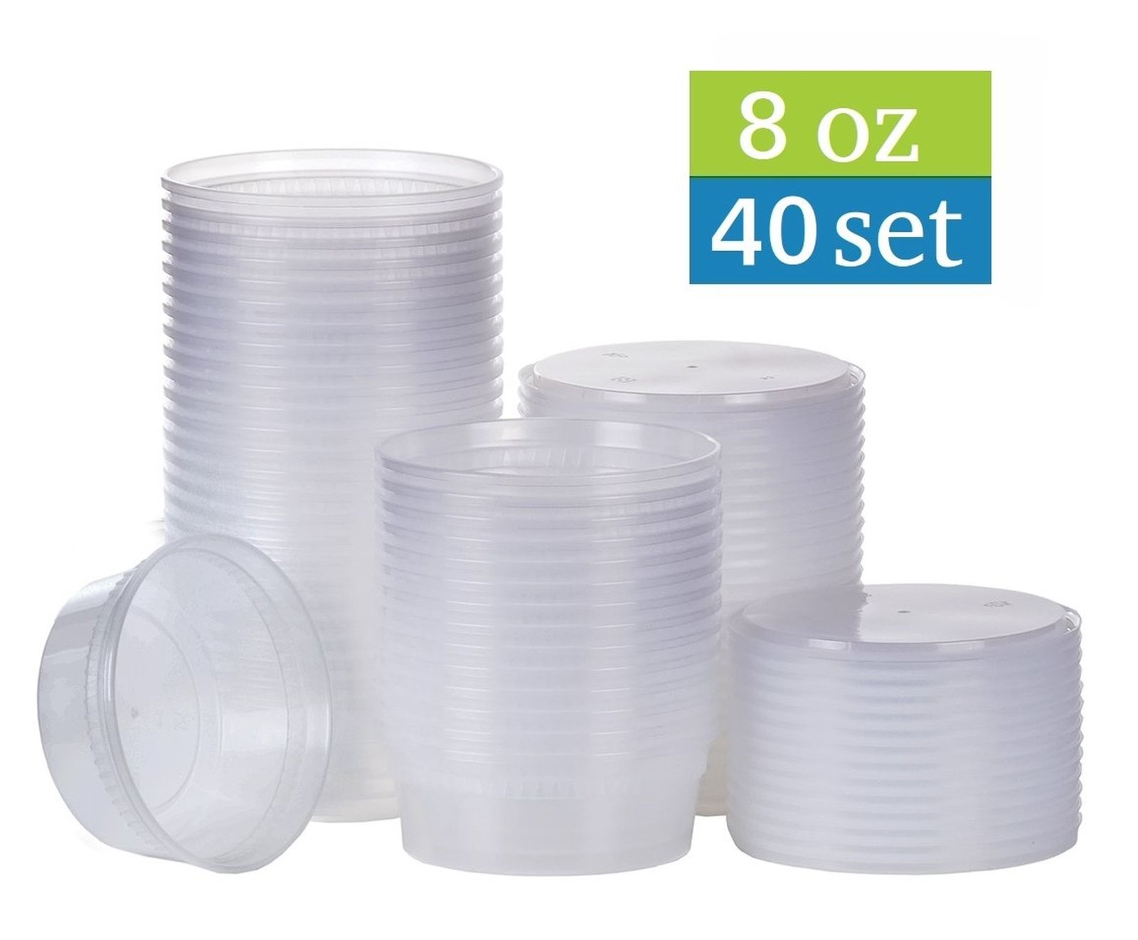 [TashiBox] 8 oz plastic food storage containers with lids - 40 sets , New 1
