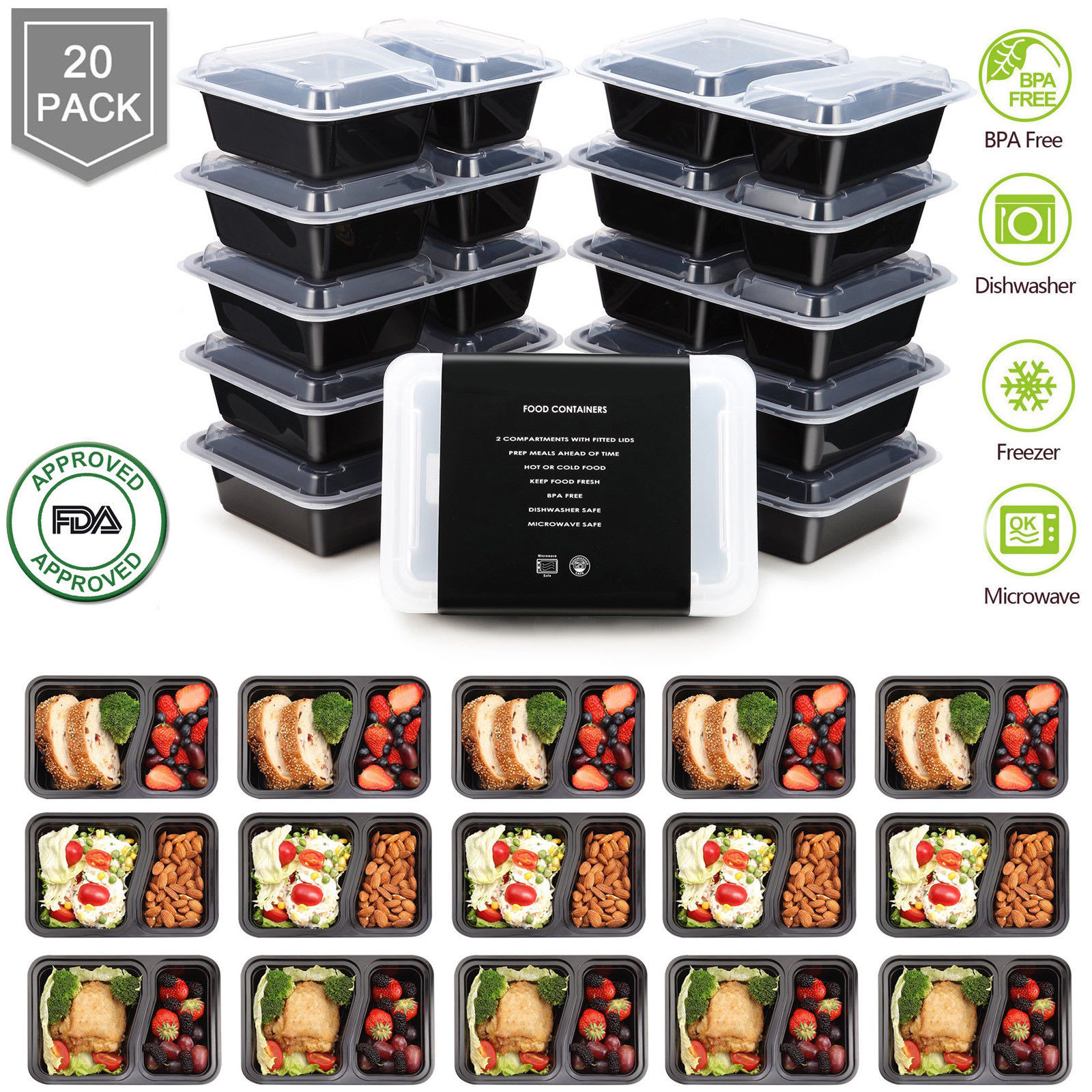 20 Meal Prep Containers Food Storage 2 Compartment Plastic Reusable Microwavable 1