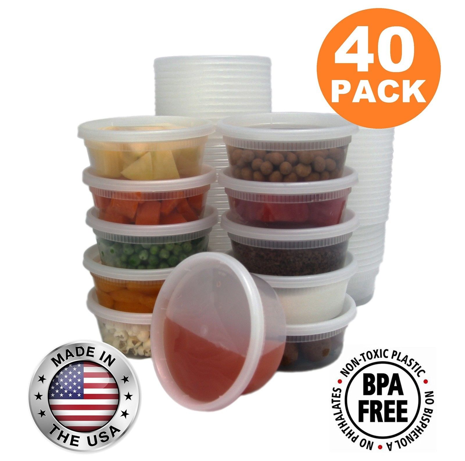 Containers Food Storage with Lids Round Plastic Deli Cups Us Made 8 Oz 40Pc 1