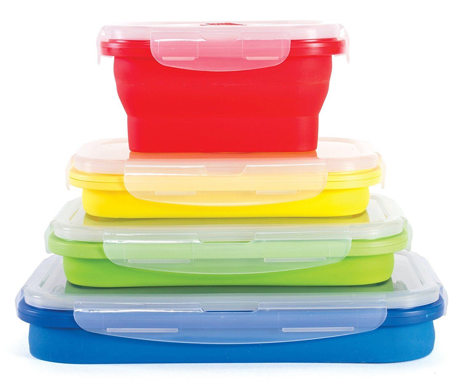 Thin Bins Collapsible Containers - Set of 4 Square Silicone Food Storage 1