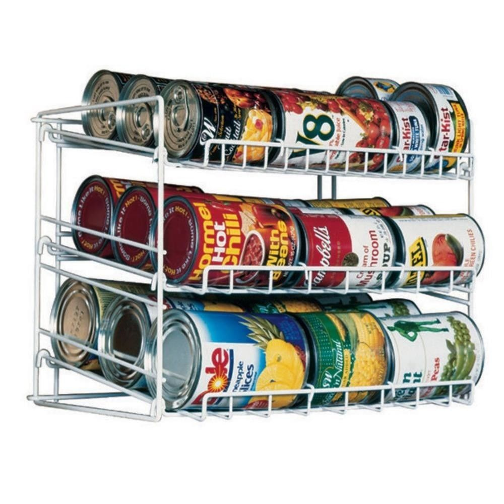 Food Can Storage Organizer Kitchen Rack Cabinet Shelf Holder Canned Pantry White 1