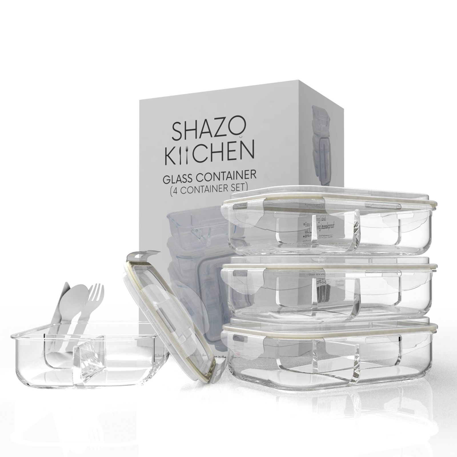 Shazo [4-Pack, 32oz] 3 Compartment Food Storage Glass Container Set, Airtight... 1