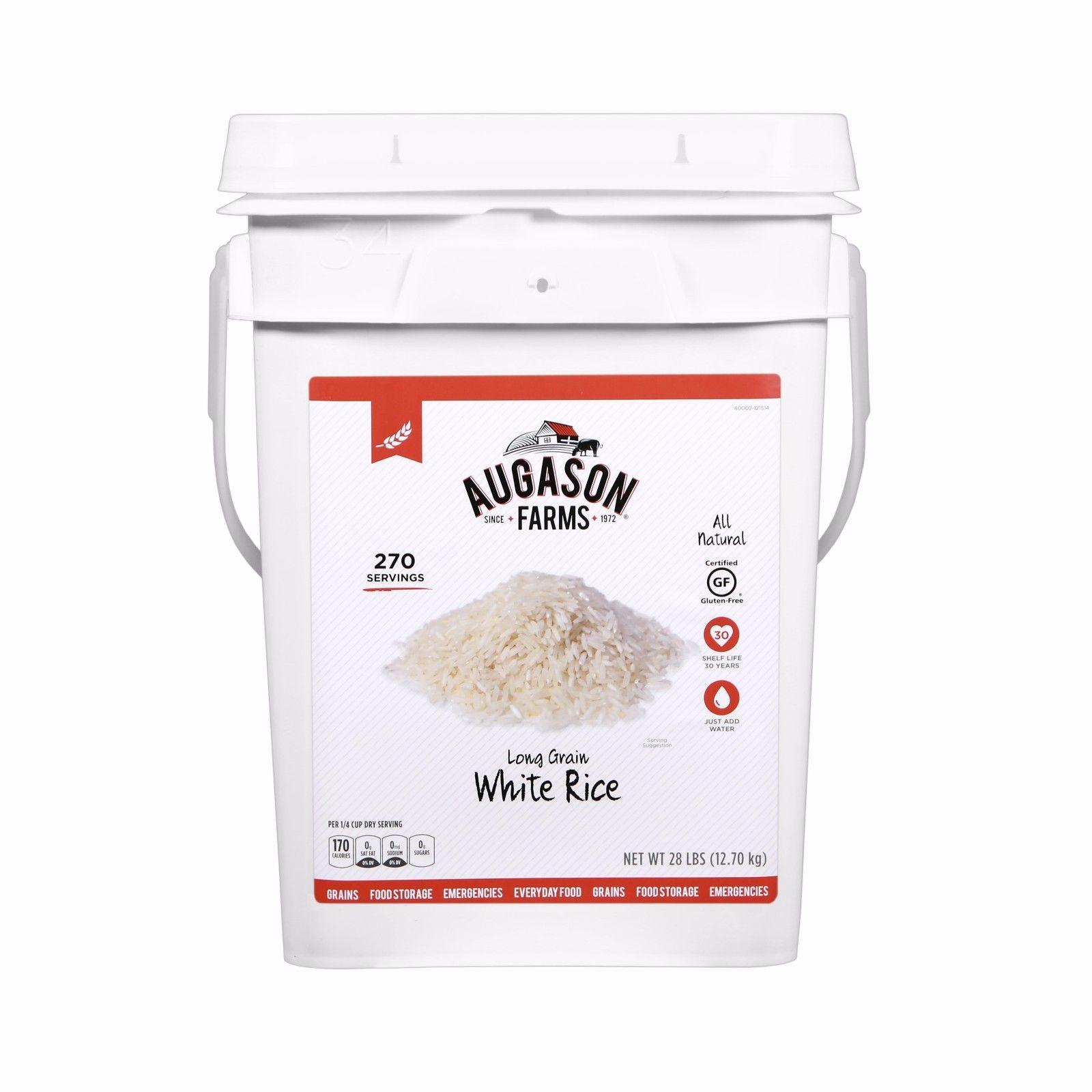 Augason Farms Long Grain White Rice Emergency Food Storage 28 Pound Pail 1