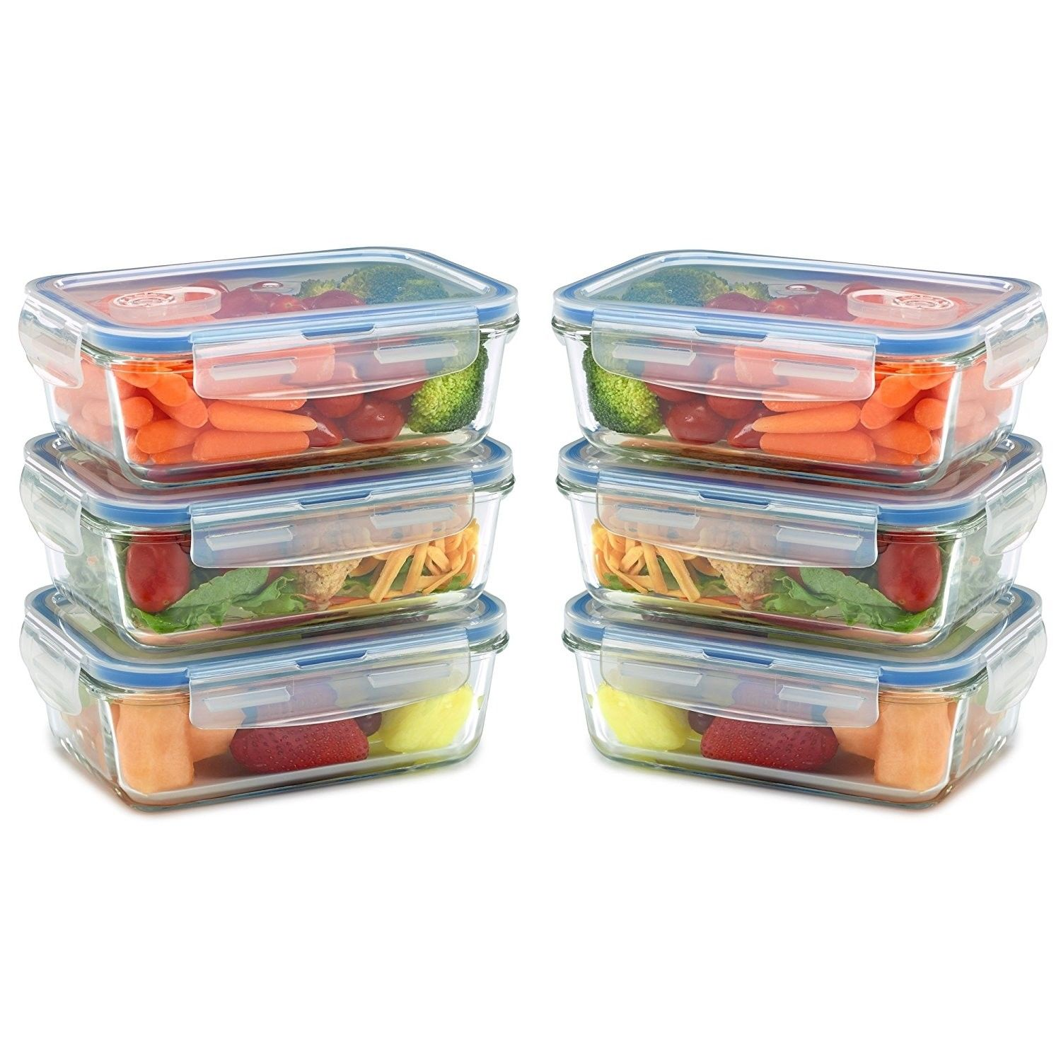 [6 Pack] Glass Meal Prep Containers for Food Storage and Prep w/ Snap Locking... 1