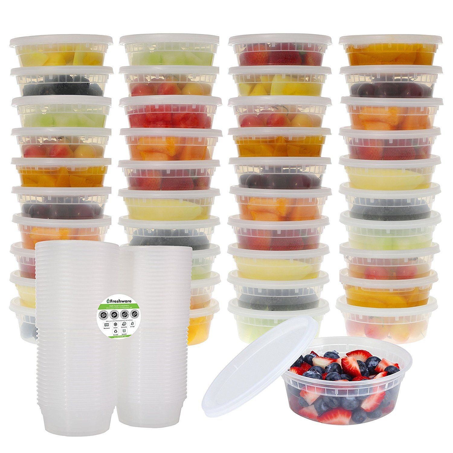 Freshware 40-Pack 8 oz Plastic Food Storage Containers with Airtight Lids 1