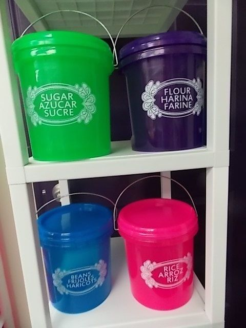 OPIF-4 BUCKETS-FOOD STORAGE CONTAINER-SNAP ON LOCKING LID-HANDLE-PAIL-1 GALLON-B 1