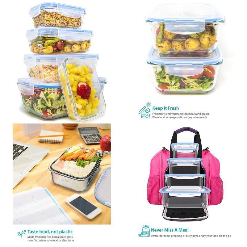 Royal Glass Food Storage Containers - 10-Piece Set - Bpa Free And Microwave Safe 1