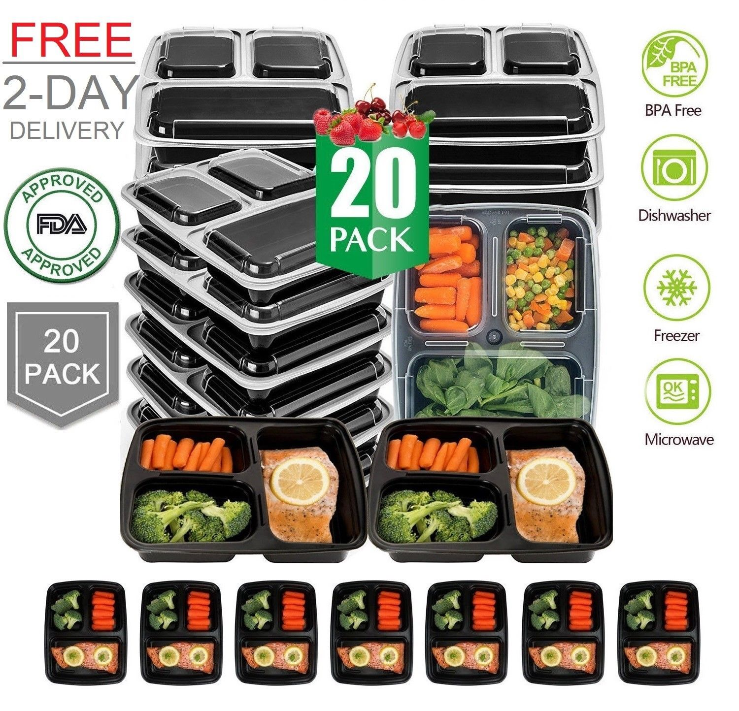 20 Pack Meal Prep Containers Food Storage 3 Compartment Reusable Microwave Safe 1